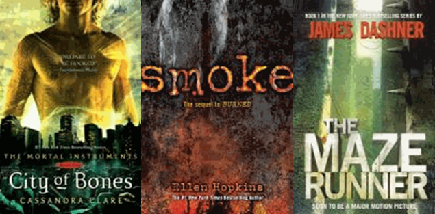 Picture of three famous series. City of Bones, Smoke and The Maze Runner